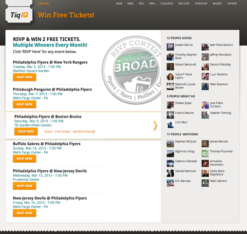 "TiqIQ introduces RSVP functionality – a ""GetGlue for Sports"""